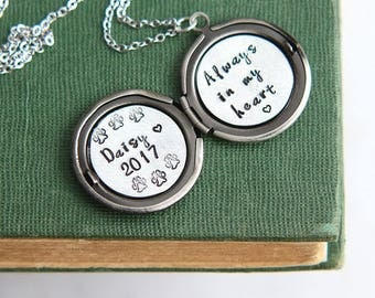 Dog Remembrance Necklace, Dog Memorial Necklace, Dog Name Memorial necklace, Personalized Dog Remembrance, Loss Sympathy Locket Necklace