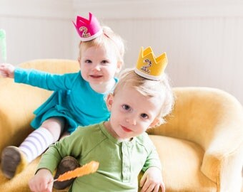 Twin Birthday Crowns || Twin Party Hats || Birthday Party Hat || Little Blue Olive || Baby Blue Pink and Gold