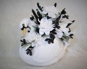 Silk Flower Arrangement in a Ceramic Swan Vase, Home Decor, Silk Floral Arrangement, Bedroom Decor