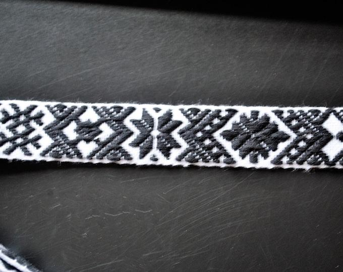 "Swedish Folk Art Woven Ribbon Wide Black & White 1""  2.5 cm Per Yard"