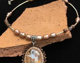 Ocean Jasper beaded cabochon & fresh water pearl necklace