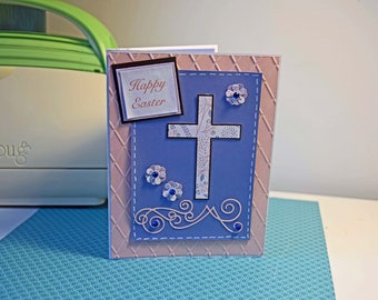 Happy Easter Handmade Greeting Card - Religious Cross