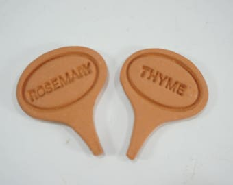 Terracotta Herb Garden Markers, Herb Plant Named Markers Rosemary and Thyme Plant Tags, Oval Small Herb Garden Name Plates, Free Ship