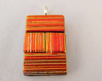 Orange & Gold Dichroic Fused Glass Pendant, Fused Glass, Fused Glass Pendant, Necklace Pendant, Dichroic Pendant, Dichroic, Orange Pendant