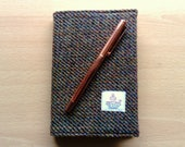 Harris Tweed and Denim A6 Size Brown Covered Notebook