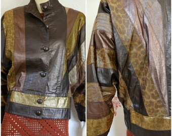 Metallic Leather Jacket | Leopard Print Leather Jacket | Brown Leather Jacket | Animal Print | Metallic Jacket Womens | Batwing Jacket