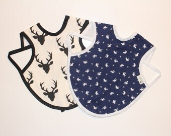 6-24m, Animals Bapron, Full Coverage Bib, Art Smock, Baby Toddler Apron Bib, Navy Dragon, Buck Forest Black