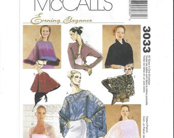 McCall's 3033 Pattern for Misses' Evening Cover-Ups, Wraps, Jackets, All Sizes, FACTORY FOLDED, UNCUT, From 2000, Evening Elegance, Home Sew