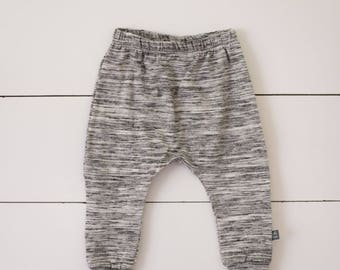 0-3 3-6grey white black heathered harem pants by little lapsi. ready to ship. baby pants