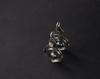 """Modern silver earrings """"Amsterdam"""",silver copper moonstone earrings,contemporary silver earrings,modern gothic silver earrings,dangle & drop"""