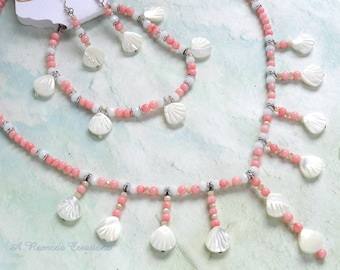Beaded Jewelry Set Coral and Shell Necklace Set Shell Jewelry Summer Jewelry Set