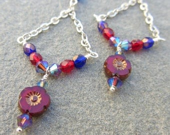 Red Flower Cobalt Blue Swarovski Chandelier Earrings, Sparkly Colorful Dangle, Red and Blue Earrings