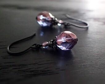 Purple Black Metal Earrings - Alternative Purple Beaded Earrings with Czech Glass - Gothic Jewelry