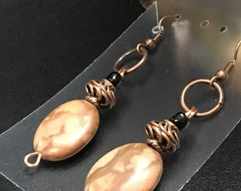 Antiqued Copper and Stone Earrings