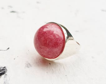 Rhodonite Silver Ring, 925 Sterling Silver Ring, Cabochon Ring, Handmade Ring, Round Ring, Large Ring, Pink Ring, Jewelry Gift, Fashion Ring