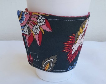 Beverage or Coffee cozy - black with floral print - reversible