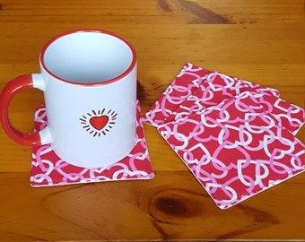 Valentine mug rug, heart mug rug, valentine coffee coaster, condensation catcher, fabric coffee coaster, pink heart coaster