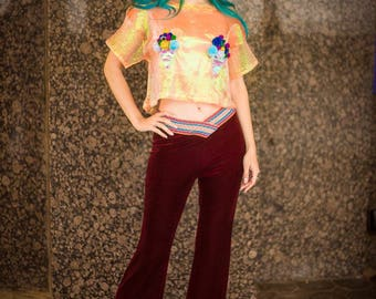Velvet Flares in Red Burgundy by Get Crooked