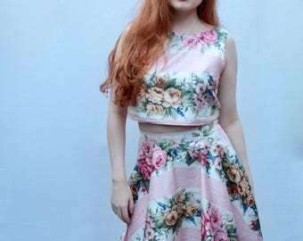 Floral two piece, matching set, rose print two piece, coordinates, floral cotton circle skirt coords handmade by The Emperor's Old Clothes