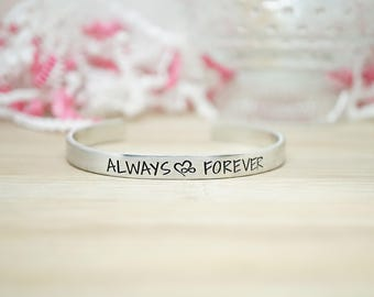 Always and Forever Cuff Bracelet - Gifts for Her - Love Jewelry - Gifts Under 20 - Valentine's Day - Anniversary Gifts - Silver Jewelry