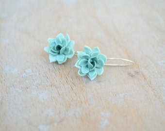 Succulent flower earrings; Sterling silver hook earrings