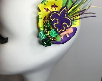 Mardi gras hair bow, Mardi gras hair clip, Mardi grad hairbow, Mardi gras fascinator, Mardi gras hair accessories, Mardi gras hair