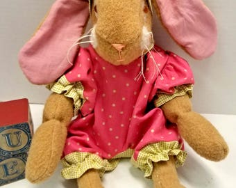 Bunny Doll, Plush Jointed Stuffed Easter Rabbit, Gift For Girl, Pink Baby Shower Centerpiece