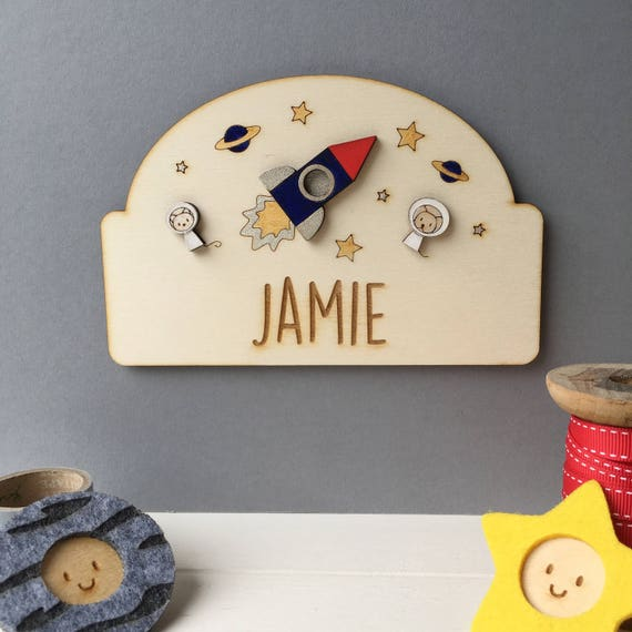 Personalised space door sign - child's room sign - space theme
