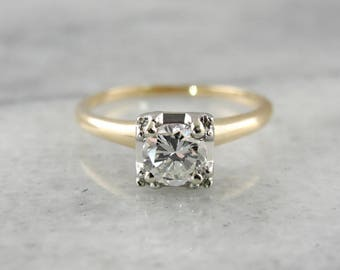 1940's Transitional Cut Diamond Solitaire Engagement Ring, Estate Engagement Ring XRUWWK-R