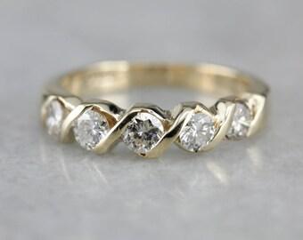 Modern Diamond Band, Gold Twist Wedding Band, Diamond Anniversary 0KURXR-D