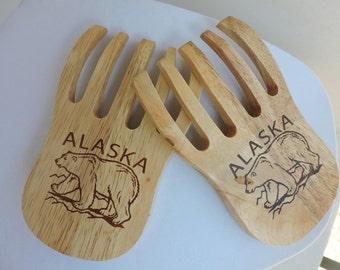 Alaska Wood Salad Tossers | Bear Claw Kitchen Fork Serving Utensils | Food Accessories | GreenTreeBoutique