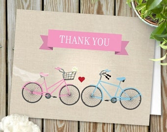 Two Bicycles Pink Wedding or Engagement Love Thank You Card JPG Instant Download