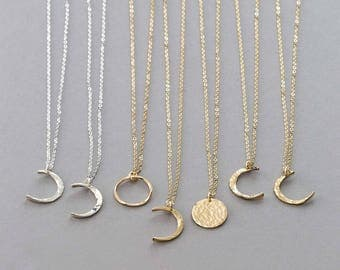 Pendants etsy dainty moon phase necklaces simple moon necklace crescent moon new moon full mozeypictures Image collections