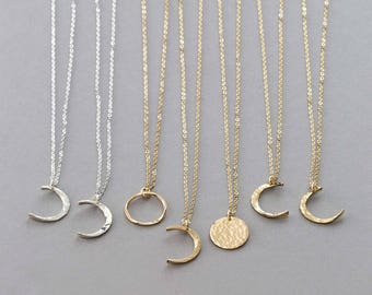 Dainty Moon Phase Necklaces • Simple Moon Necklace • Crescent Moon, New Moon, Full Moon • 14k Gold Fill, Sterling Silver, Rose Gold LN116