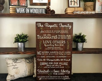 Large Family Mission Statement Sign - Personalized Family Values Wall Art - Wooden Family Rules Sign