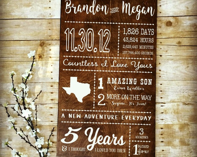 5th Anniversary, Love Story Sign, 5 Year Anniversary, Wood Anniversary, Days Hours Minutes, Subway Art, Anniversary Keepsake