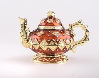 Red Tea Pot Decorated with Swarovski Crystals Musical Instrument Trinket Box by Keren Kopal Faberge Style