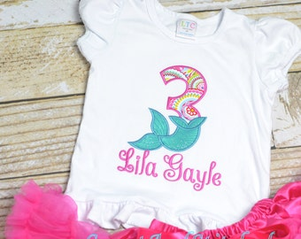 Girls Mermaid birthday outfit  - pink and teal mermaid birthday shirt! 1st, 2nd, 3rd, 4th, 5th, etc birthday shirt or birthday outfit!