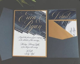 Navy and Gold Watercolor Invitation