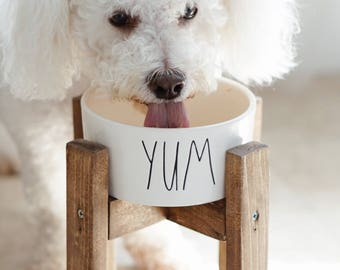 Small Dog Bowl Stand / Elevated Dog Bowl / Raised Dog Feeder / Midcentury Dog Stand / Rae Dunn Dog Bowl