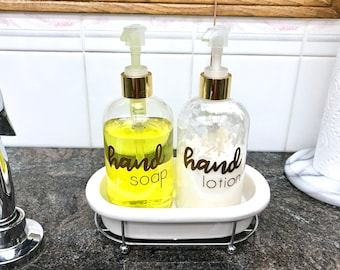 Hand Soap and Hand Lotion Gold Vinyl Label, Essential Oil Soap and Lotion Label, Set of 2