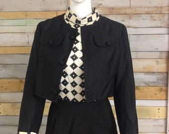Peter Barron 1960's monochrome mod dress and jacket suit combo 10/12