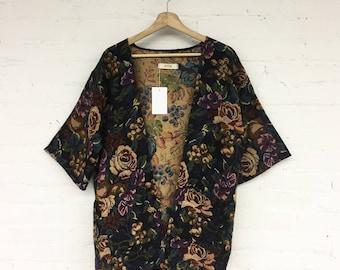 Day Coat - vintage floral upholdstry cotton