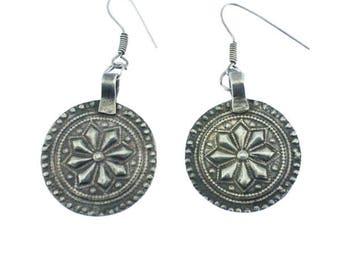 Silver Circle Earrings, Silver Circle Dangle Earrings, Large Silver Earrings