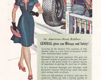 The General Tire 1943 In American Made Rubber WW2 Vintage Print Ad