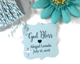 Blue Baptism Tags 20pc - Personalized Christening Favor Tags - Baby Boy Custom Favors - God Bless Thank You Tags - Confirmation