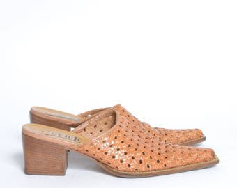 Vintage 90's Woven Brown Leather Slipper Sandal Mule Chunky Heels