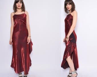 Vintage 90's Strappy Metallic Black Maxi Dress / Spaghetti Strap  Evening Dress - Size Large