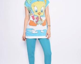 Vintage 80's Tweedy Oversized Top / Looney Toones Shirt