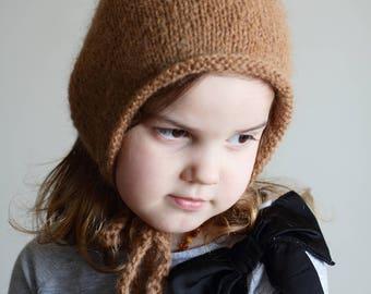 newborn pixie bonnet, baby bonnet, newborn bonnet, toddler bonnet, elf hat, newborn photo prop, photography prop, brown bonnet, pixie hat